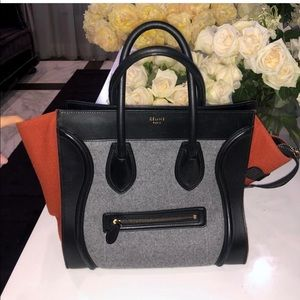 Celine Mini Luggage tote Bag Tricolor